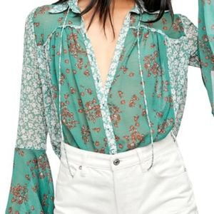 Free People Serena Printed Blouse in Emerald Combo